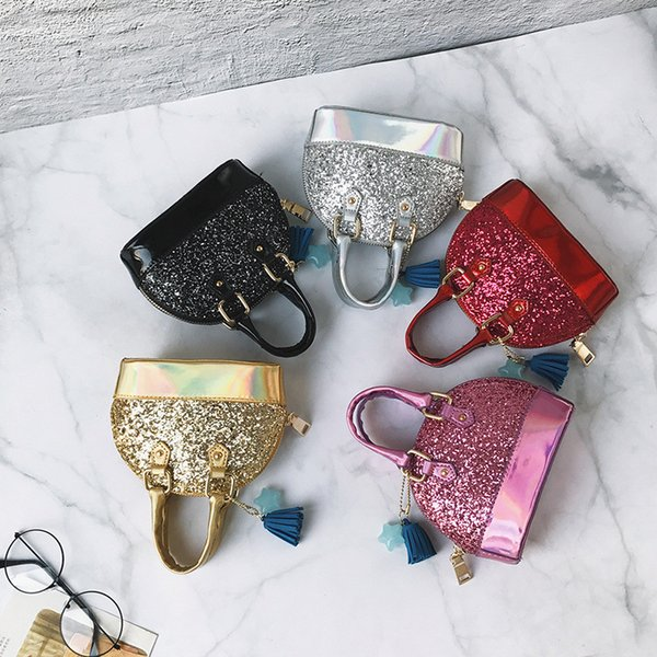 Hot Baby Kids Purses Children Handbag Wallet Glitter Sequin Small Bag Fashion Kid Shoulder Bag Baby Girl Party Metal Chain Messenger Bags