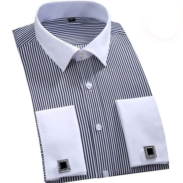 Men French Cufflinks Shirt 2018 New Men's Stripes Shirt Long Sleeve Casual Shirts French Cuff Dress (Cufflinks Included)