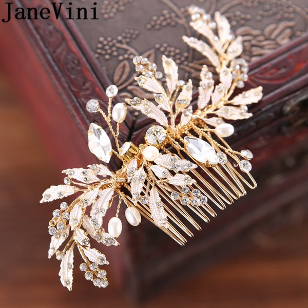 JaneVini Hair Accessories For Women Pearl Flower Hair Comb Bohemia Gold Wedding Bride Tiaras Crowns Crystal Jewelry Ornaments