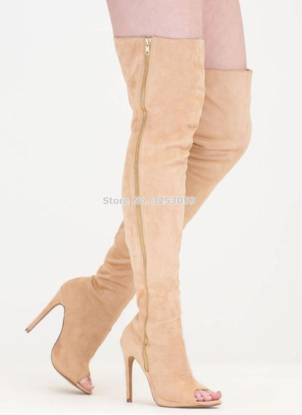 ALMUDENA Elegant Apricot Suede Peep Toe Zipper Long Boots Slim Fit Thigh High Boots Sky High Heels Dress Shoes Autumn Winter