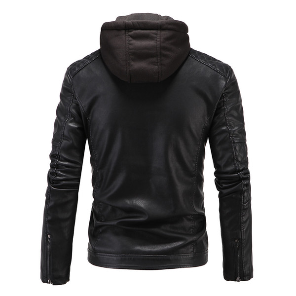 2018 Men's England Hooded Thicken New Slim Motorcycle Leather Jacket Men's High-end Boutique Punk Jacket 3XL