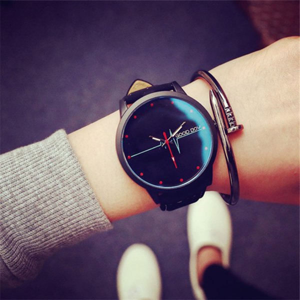 Retro style casual simple blue glass ECG tide watch student men and women couple watch quartz Business birthday present