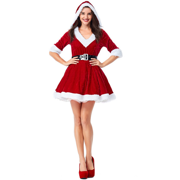 New Arrival Christmas Dress Women Christmas Costume For Adult Red Velvet Fur Dresses Hooded Sexy Female Santa Claus Costume cosplay