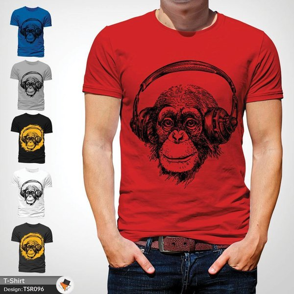 Auriculares Chimp DJ Techno House Music Rave DnB Monkey camiseta roja! Divertido envío gratis Unisex Casual camiseta de regalo