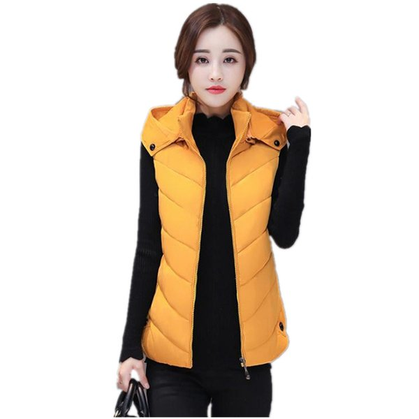 Hot Sale Autumn Winter Women Short Warm Waistcoat 2018 Fashion Zippers Down Cotton Vest Female Hooded Plus Size 6XL Vest CQ2154