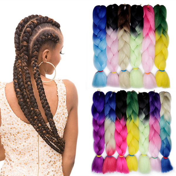 Kanekalon Ombre Braiding hair synthetic Crochet braids twist 24inch 100g Ombre two tone Jumbo braid hair extensions more colors A-567