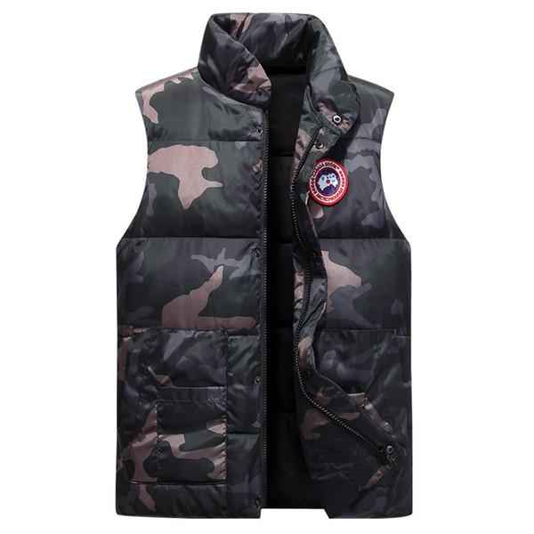 Weihnachten neue männliche verdicken koreanische Version grün Slim Fit Camouflage Stehkragen MEN Downweste Großhandel JACKET SIZE M-XXXXL