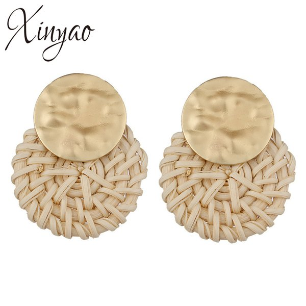 XINYAO 2018 Summer Round Rattan Statement Earrings For Women Gold Color Vintage Big Round Circle Metal Drop Earrings Jewelry
