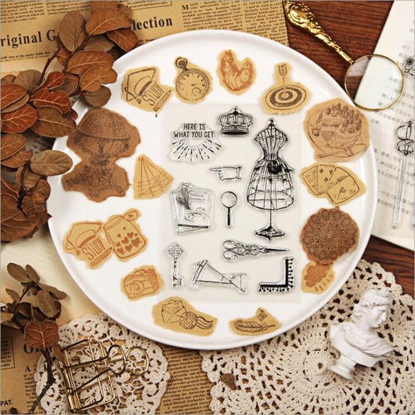 8pcs/lot Retro Series Transparent Clear Silicone Stamp for DIY Scrapbooking/Card Making Kids Fun Decoration Supplies