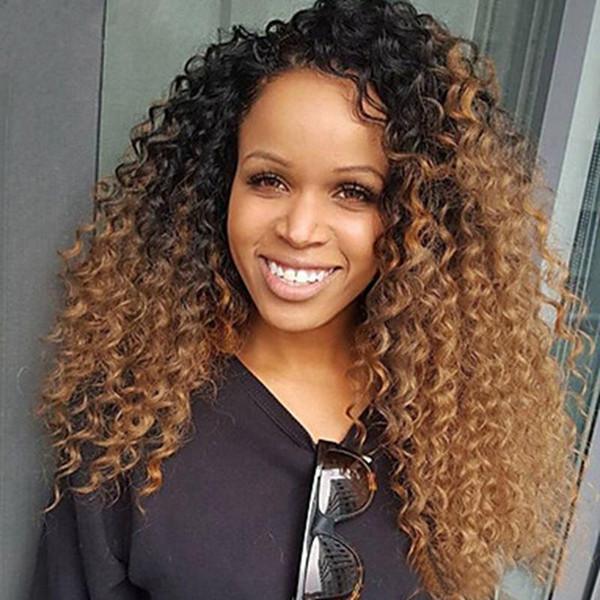 Ombre Blonde # 1b # 30 # 33 Full Lace Perruque De Cheveux Humains Afro Crépus Bouclés Cheveux Brésiliens Partie Gratuite 150% Densité Avant Dentelle Remy Perruque Avec Cheveux De Bébé