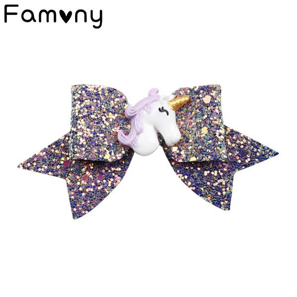 4''New Winter Glitter Girls Bow Bow Unicorn Bling Bows Solid Girls Hair Clips Regalo di Natale per bambini Boutique Accessori