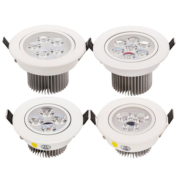CREE 9W 12W 15W 21W LED Down Light Luces empotradas en el techo AC110v 220v Blanco shell 330-770LM Blanco frío / puro / cálido