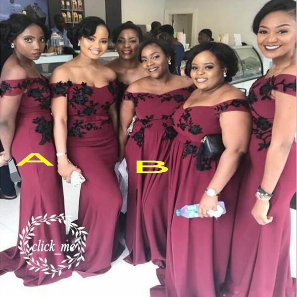 African Plus Size Bridesmaid Dresses Cheap Black Lace Appliques Off The  Shoulder Robes De Demoiselles D\'Honneur Maid Of Honor Dress Brown  Bridesmaid ...