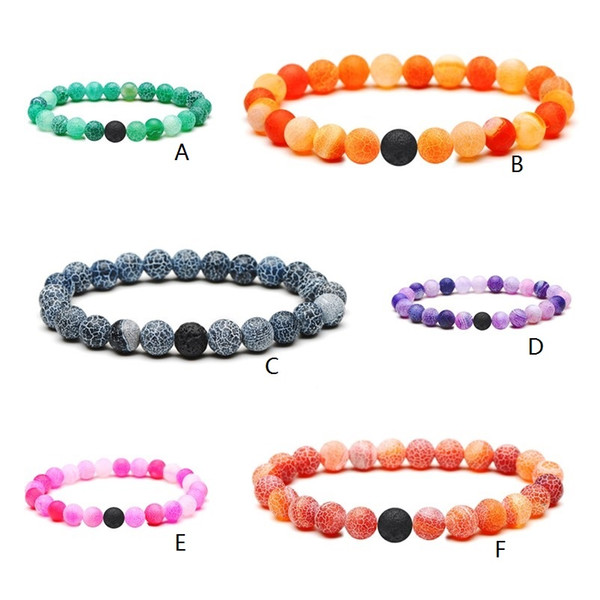 6 colors Natural Weathered Agate Onyx Stone Bracelet One Black Lava Stone Essential Oil Diffuser Bracelet Volcanic Rock Beaded Hand Strings