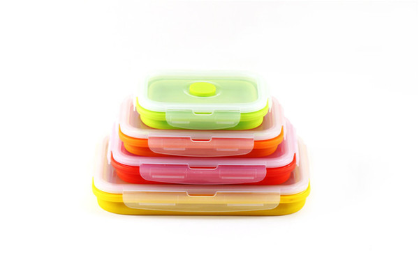 New Creative Big Bento Box Set Silicone Portable Lunch Box Folding Microwave Dinnerware 4PCS/Sets Food Crisper Kitchen Storage