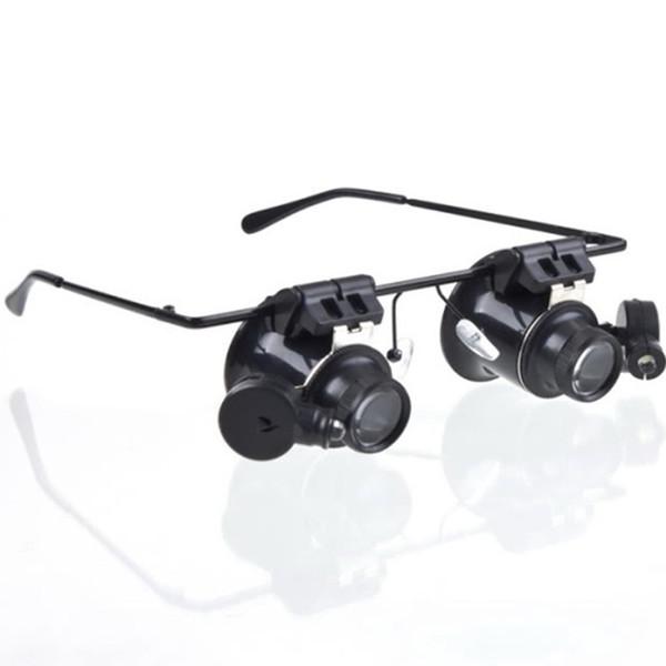 Очки лупа светодиодный свет двойной объектив 20 раз очки видео Ремонт, Проверьте металлический увеличительное стекло легкие