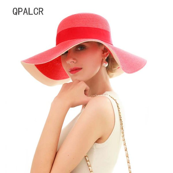 9a80263db Qpalcr Summer Straw Hat Ladies Large Brim Two Color Matching Sun Hat  Foldable Washable Uv Protection Beach Hats Women Summer Cap Black Floppy  Hat Flat ...
