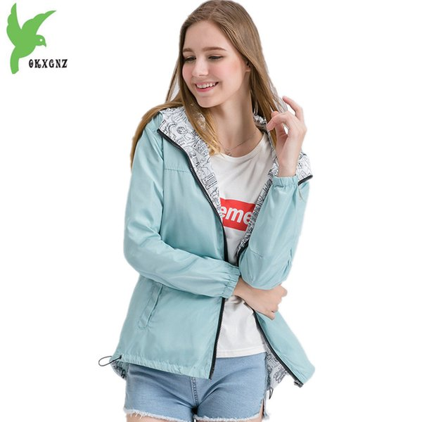 Two sides wear Short Jacket Womens 2018 Spring Autumn Hoodie Top Plus size Students Outerwear Loose Thin Windbreaker Coats 2088