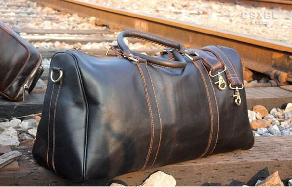 54CM grande capacité femmes sacs de voyage 2019 vente qualité hommes épaule sacs polochons portent sur bagage keepall rivets bas avec tête de verrouillage