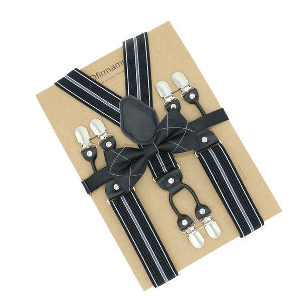 6 Clip Mens Suspenders Bowtie Set Wedding Adult Formal Braces Supports Tirantes Double Elastic Adjustable Pants Straps Clothing