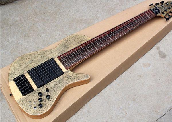 Фабрика Custom 7 струн ясень шеи через тело электрическая бас-гитара с птичьим инкрустацией, черное оборудование, могут быть настроены