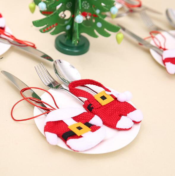 Noel Çatal Tutucu Bıçak ve Çatal Çanta Kapak Xmas Dekorasyon Santa Cep Bıçaklar Çanta Giysi Iki Tasarım
