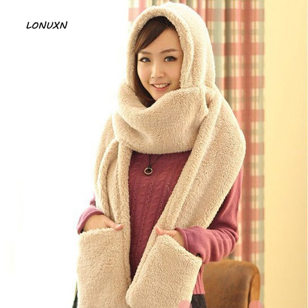 5 colors 3 pieces/lot Solid color Korean Winter Hat+ Scarf +Glove thickened female lovely double plush Warm and comfortable