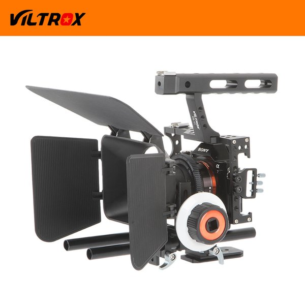 wholesale DSLR Video Film Stabilizer Kit 15mm Rod Rig Camera Cage+Handle Grip+Follow Focus+Matte Box for for Sony A7 II A6300 /GH4