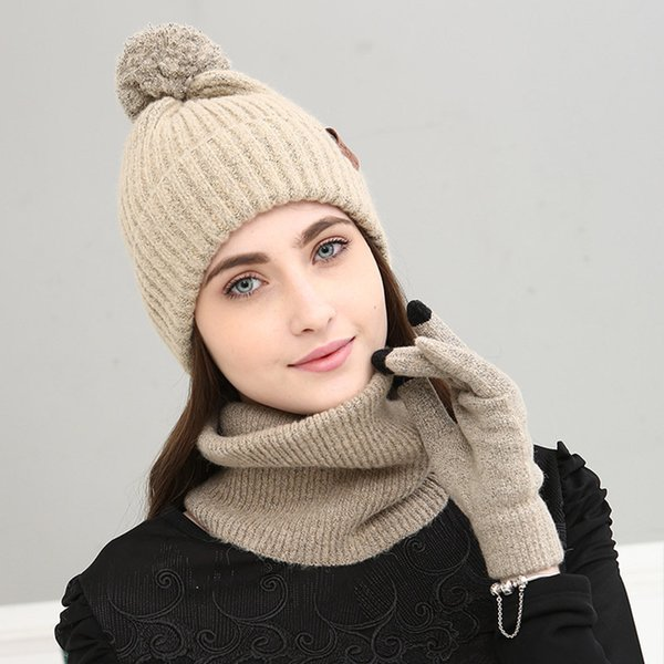 A Set Of Women Winter Hats Scarves Gloves Cotton Knitted Hat Scarf Set For Female Touch Screen Mobile Phone 3 Pieces Hat Scarf