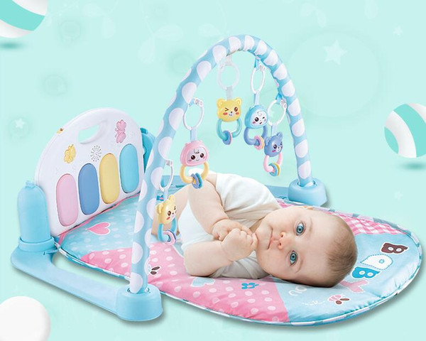 top popular Baby Play Mat 5 in 1 Rug Toys Kid's Crawling Music Play Game Developing Mat Pad with Keyboard Infant Carpet Education Rack Toy 2021