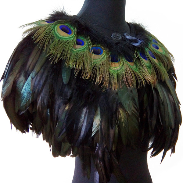 Women's Real Peacock Feather Fur Bridal Bridesmaid Wedding Cape Wrap Pashmina Scarf Shawl for Evening Fancy Dress Party Y18102010