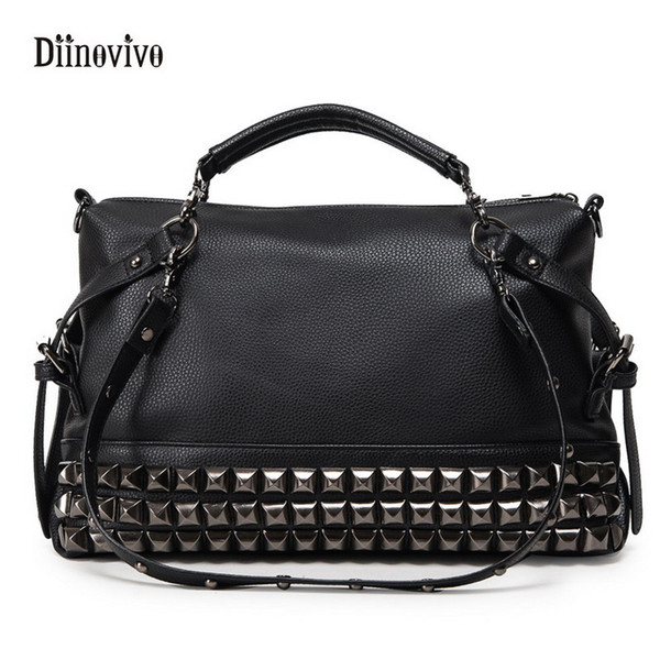 DIINOVIVO Fashion Rock Style Youth Leather Handbags Women Casual Punk Totes Simple Brand Ladies' Luxury Messenger Bag WHDV0059 D18102407