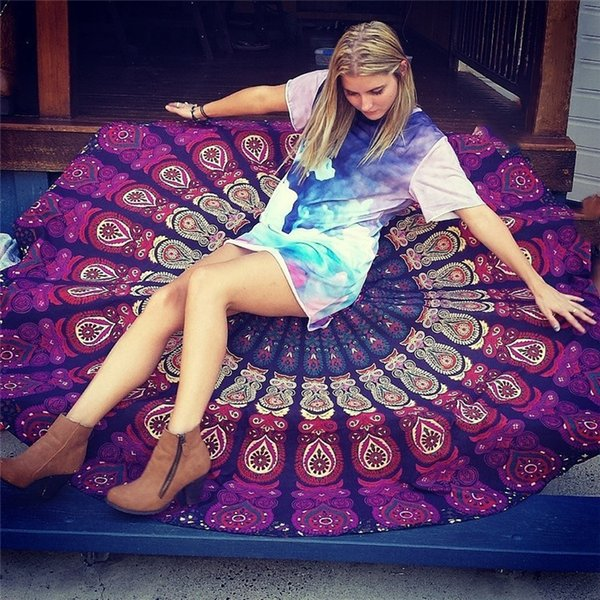 2018 Comfortable Round Ethnic Pattern Beach Towel Yoga Mat Tapestry Chiffon Table Cloth 37 Colors Free Shipping