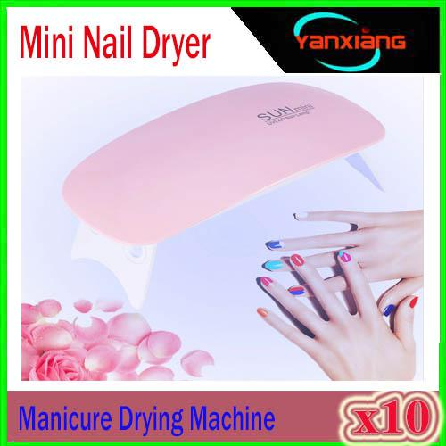 10PCS UV Lamp Nail Dryer 6W Lamp for Nails Manicure Machine Mini Portable Nail Lamp USB Gel Nail Polish Gel Varnish 45s 60s Timer XU-MJ-3