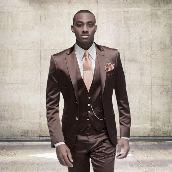 New Dark Red Men Wedding Suits Slim Fit Bridegroom Tuxedos Cheap ...