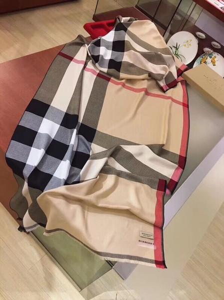 Diseñador de lujo de tela escocesa impresa bufanda de algodón elegante lana suave bufanda de lana 180 * 70 cm