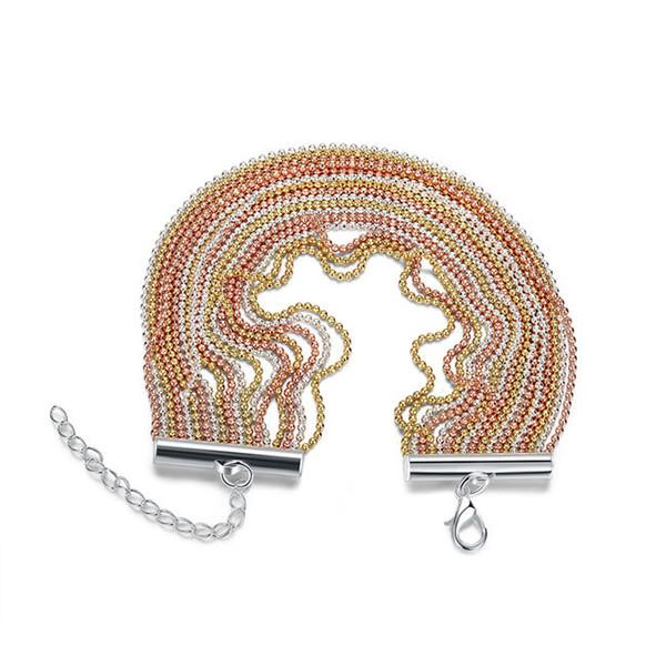 Boda gif! 18 alambre, oro, plata y sterling pulsera plateada SPB456; alta calidad hombres y mujeres de la moda 925 pulseras de plata del encanto