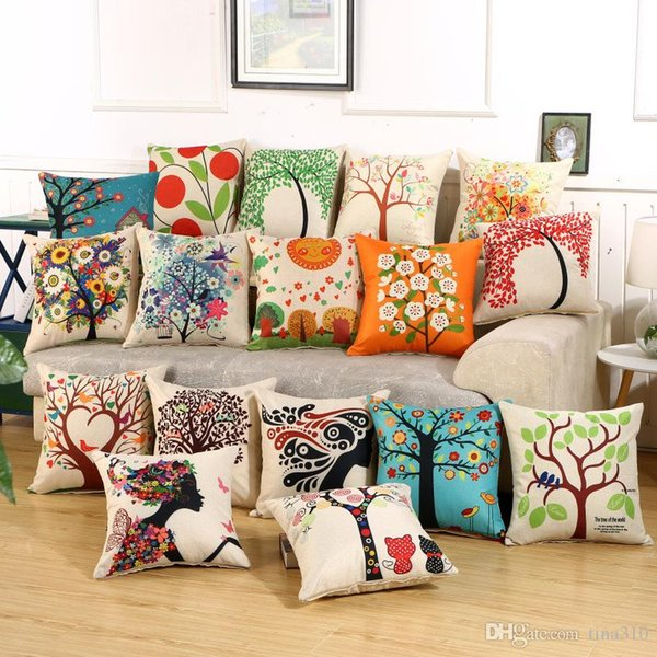 Charming Pattern Cushion Covers Cotton Linen Fashion Cushion Covers Decorative Chair Waist Throw Pillow case Home Decor IC592