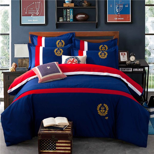 Navy Blue European Style Sheet Set Simple Striped Cotton Spring And Autumn Period Bedding Bag 4 Pieces Suit For Home