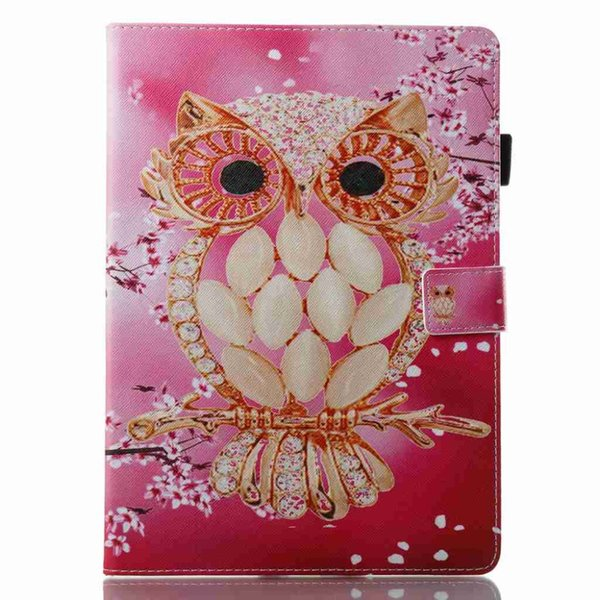 Cartoon Owl Cover PU Leather Case For Apple iPad Pro 10.5 A1701/ A1709 Tablet Case Wallet Stand Protective Cover+Stylus Pen+Film