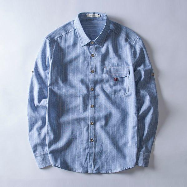 Pamuk ve keten karışık çizgili gömlek erkekler marka casual slim sky blue gömlek erkek uzun kollu keten moda gömlek mens tops chemise