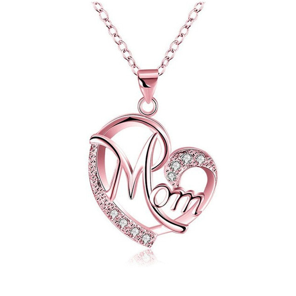 New Exquisite Love Heart Shaped Mom Pendant Necklace Crystal Diamond 925 Silver Rose Gold Clavicle Chain Women Choker Mother Day Gifts