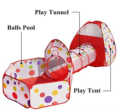 3-IN-1 Pop-Up Children Play Tent Kids Playhouse Tunnel Set Game House Multipurpose Play Tent for Toddlers Child Indoor & Outdoor Use