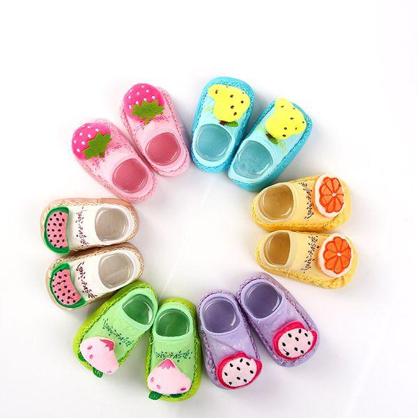 Kids Baby Socks 3D Infant Korean Style First Walk Fruit Girls Mix Color Toddler Newborn Children Cute Slippers New