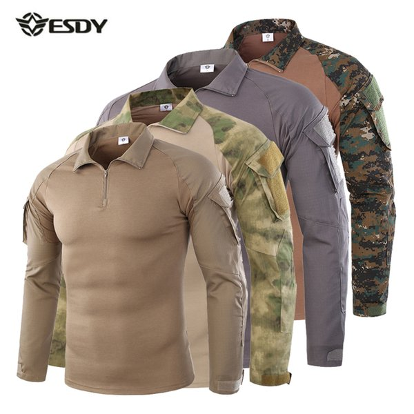 Men Tactical Shirt CS Shooting Camouflage Combat Outdoor Quick Dry Fishing Clothing Hiking Training Camping Hunting Clothes C18111501