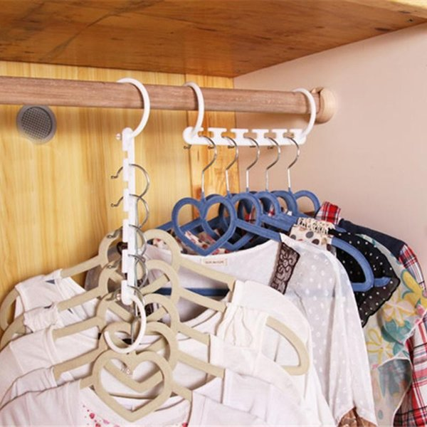 8 Pcs/Set Useful Magic Wonder Hanger Closet Space Saver Smart Organizer Clothes Hook Rack 3D Space Saving Hanger Magic Clothes Hanger