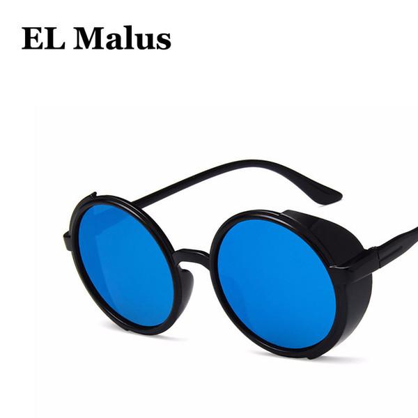 [EL Malus]Steampunk UV400 Round Sunglasses Men Women Retro Brand Designer Reflective Blue Silver Lens Mirror Sun Glasses Male