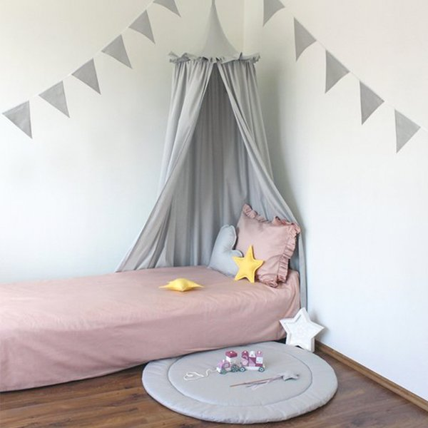 Cotton 3D Hung Dome Mosquito Net Ruffle Princess Girls Crib Canopy Baby Bed Canopy Kids Mosquito Net Girls Room Decor 240cm