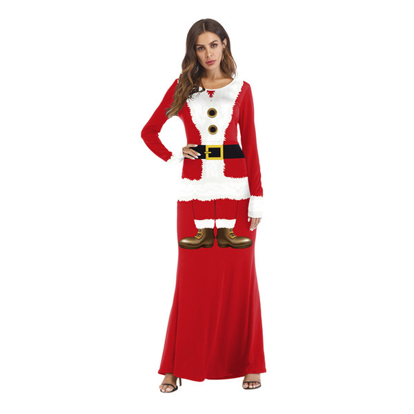 Christmas Party Dress.2019 Hot Merry Christmas Party Dress For Women Full Sleeve Crew Neck Red Xmas Santa Claus Print Long Maxi Dresses From Hilllin1989 35 37
