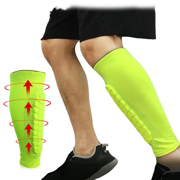 1PCS Football Honeycomb Anti-crash Leg Calf Sleeve Soccer Shin Guards Protector Honeycomb Compression Leg Warmers Knee Pads